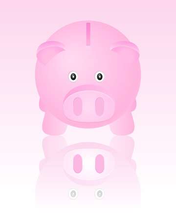 Pink piggy bank  Vector illustration  Vector