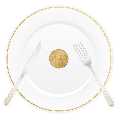 Dish with cutlery and 1 euro cent coin illustration  Vector