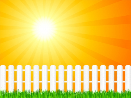 White wooden fence and green grass under dramatic sky illustration Stock Vector - 13618301