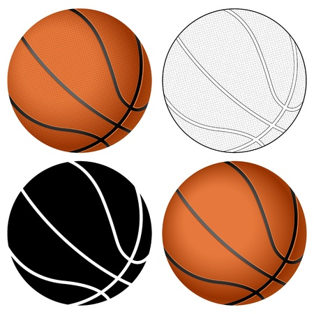 black outline: Basketball ball set isolated on a white background  Vector illustration