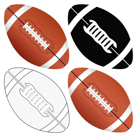 football american: Football ball set isolated on a white background  Vector illustration  Illustration