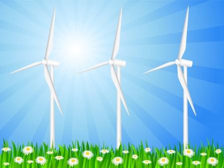 grassy field: Wind generators on a grassy field  Vector illustration  Illustration