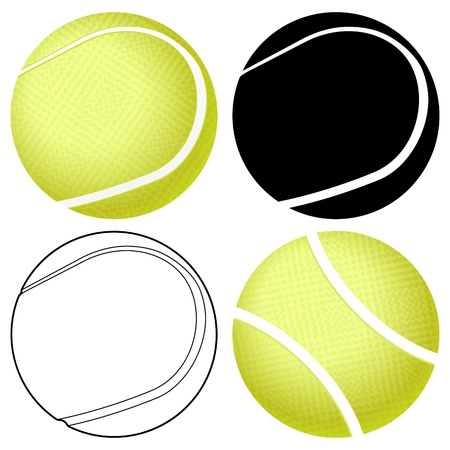 tennis ball: Tennis ball set isolated on a white background  Vector illustration