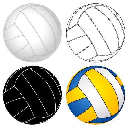 волейбол: Волейбол мяч установлен на белом фоне векторная иллюстрация Иллюстрация