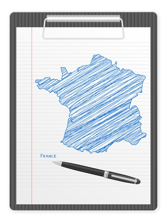 Clipboard with France drawing map  Vector illustration  Vector