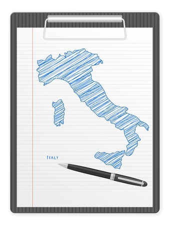 Clipboard with Italy drawing map  Vector illustration  Vector