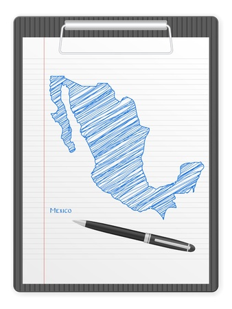 Clipboard with Mexico drawing map  Vector illustration  Vector