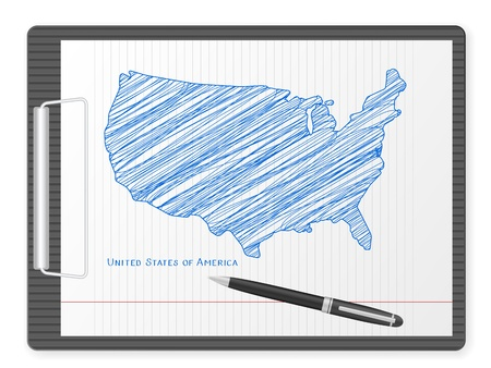 us map: Clipboard with USA drawing map  Vector illustration