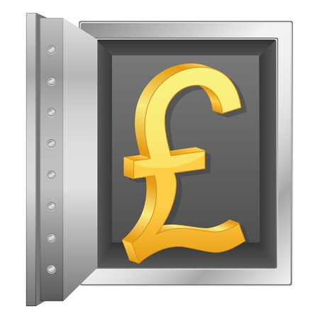 Bank safe with british pound symbol  Vector illustration  Stock Vector - 14006588