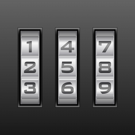 Metallic combination lock with three number  Vector illustration  Vector