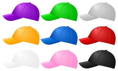 Color baseball caps ob white background  Vector illustration  Stock Vector - 14161952