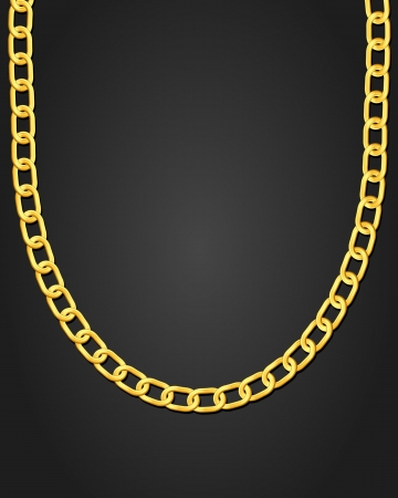 Gold necklace on black background  Vector illustration