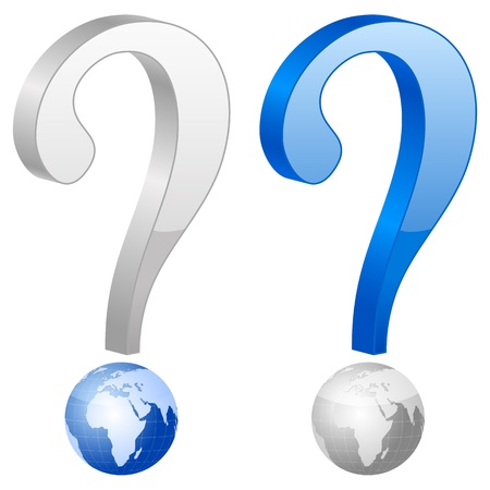 Question symbol with globe on white background  Vector illustration  Vector