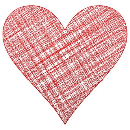 drawing heart: Coeur rouge de dessin vectoriel symbole illustration Illustration