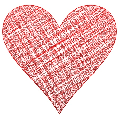 heart drawing: Red drawing heart symbol  Vector illustration  Illustration