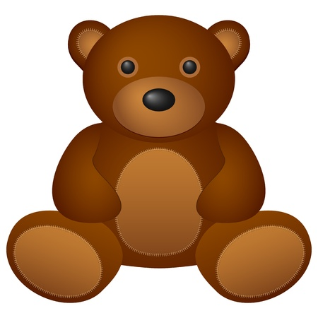 Teddy bear toy on a white background  Vector illustration  Vector