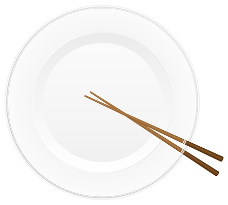 Empty white plate with chopsticks  Vector illustration  Stock Vector - 14161964