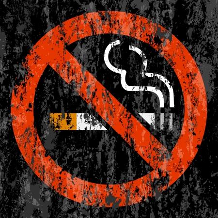prohibido fumar: Ningún símbolo fumar grunge de fondo ilustración vectorial Vectores