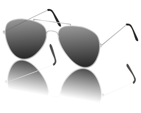 silver ware: Sunglasses on a white background  Vector illustration  Illustration