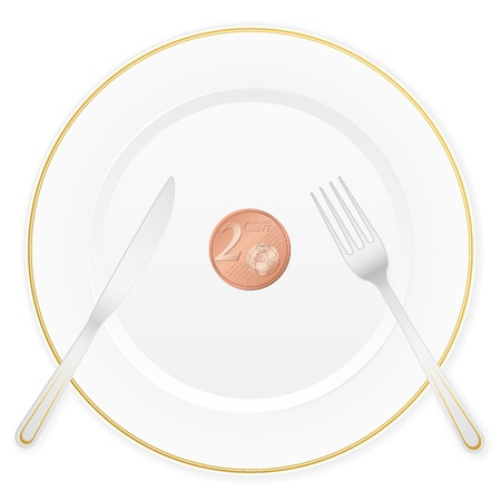 cent: Dish with cutlery and 2 euro cent coin  Vector illustration