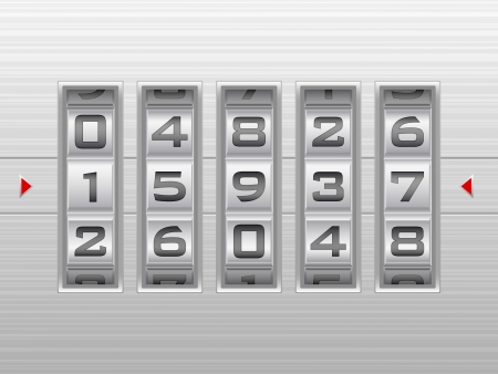 Metallic combination lock with five number  Vector illustration  Vector