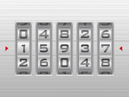 secret number: Metallic combination lock with five number  Vector illustration