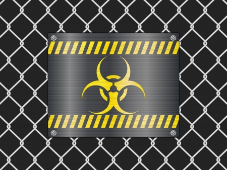 Wire fence and biohazard sign background  Vector illustrator Stock Vector - 14161993
