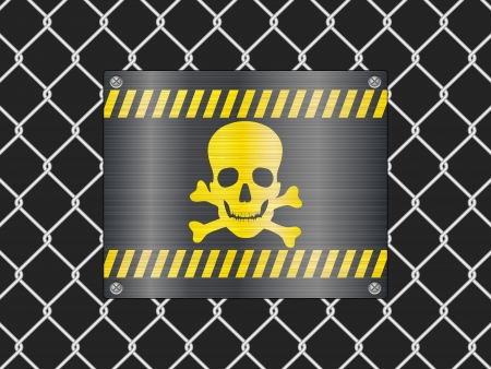 Wire fence and jolly roger sign background  Vector illustrator  Stock Vector - 14161995