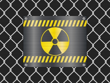Wire fence and radiation sign background  Vector illustrator  Vector