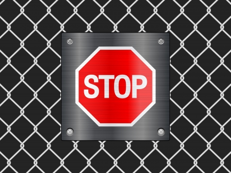 Wire fence and stop sign background  Vector illustrator  Stock Vector - 14161978