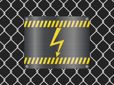 Wire fence and voltage sign sign background  Vector illustrator  Vector