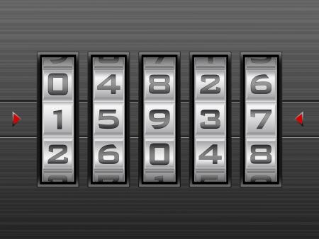 secret number: Metallic combination lock with five number