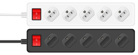 electrical component: Portable outlet electrical socket on a white background