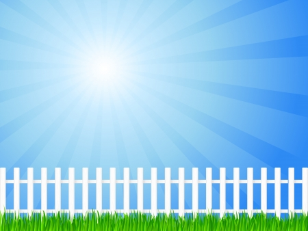 White wooden fence and green grass under sky  Vector