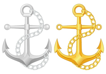 yacht isolated: Two anchors on a white background Illustration