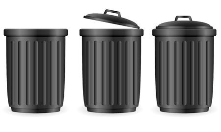 trash basket: La basura puede establecer en blanco ilustraci�n vectorial de fondo Vectores