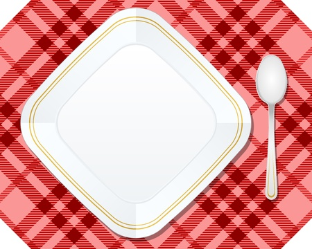 Plate and spoon on red tablecloth. Vector illustration. Stock Vector - 14572080