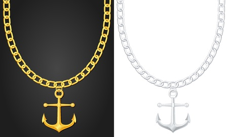 gold necklace: Necklace with anchor  illustration