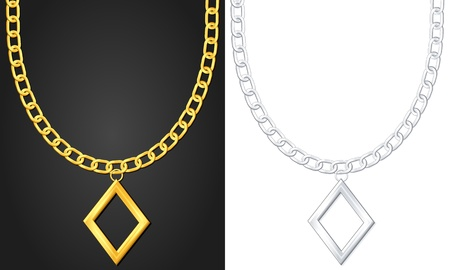 Necklace with diamond symbol set  illustration  Vector