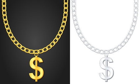 Necklace with dolar sign set  illustration  Vector