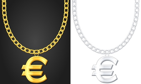 Necklace with euro symbol set illustration  Vector