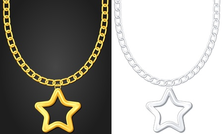 Necklace with star symbol set  illustration  Vector