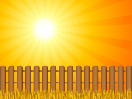 dramatic: Wooden fence and grass under dramatic sky  illustration  Illustration
