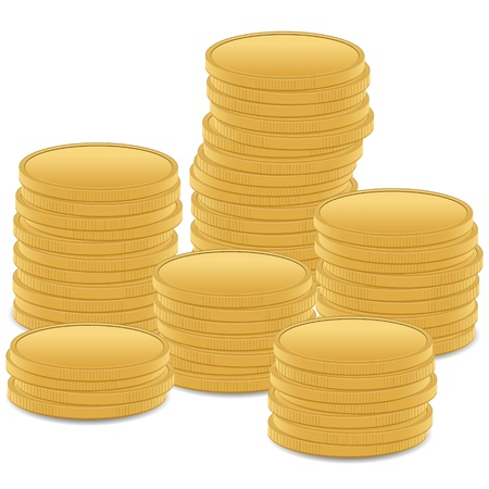 coins stack: Stack gold coins on white background, illustration