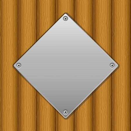 Metal plate on wooden board background  illustration Stock Vector - 14898353