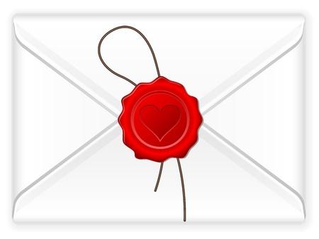 Envelope with love stamp  Vector illustration