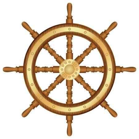 timon de barco: Helm rueda de la ilustración de fondo blanco Vectores