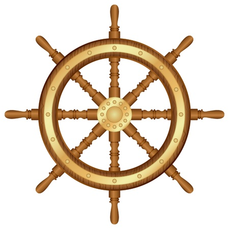 ship steering wheel: Helm wheel on white background illustration