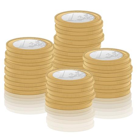 stack of cash: Pila de monedas de un euro en la ilustraci�n de fondo blanco Vectores