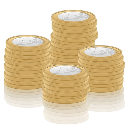 1 euro: Stack one euro coins on white background illustration